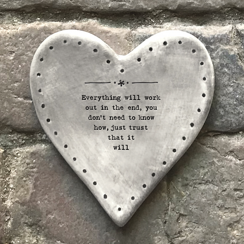 Rustic heart coaster-Everything will work out
