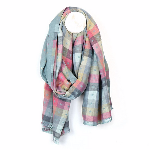 Pale aqua and pastel mix check and mini star scarf