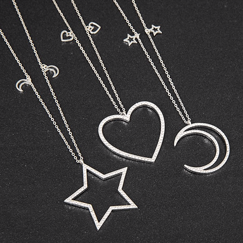 Hollow Moon/Star/Heart Long Silver Plated Necklace