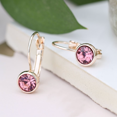 Rose gold plated and pink crystal drop earrings