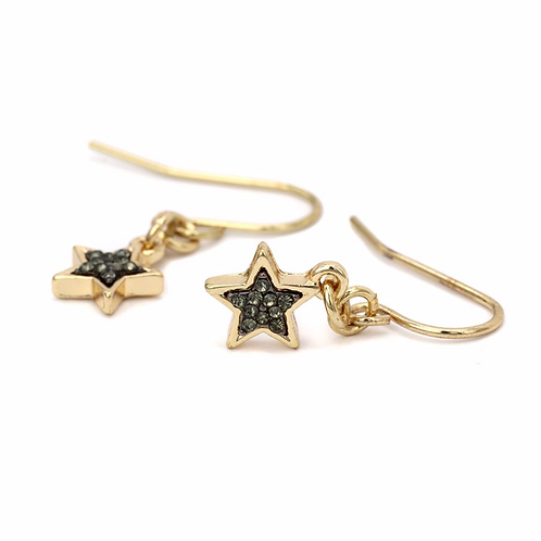 Gold plated sparkle star drop earrings