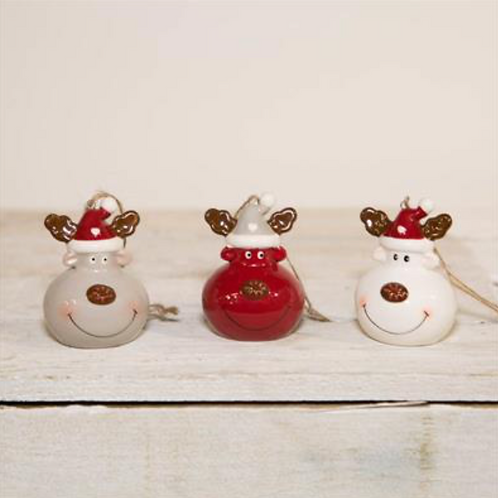 Box of Three Ceramic Reindeer Baubles
