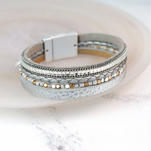 Silver Leather Crystals And Beads Bracelet
