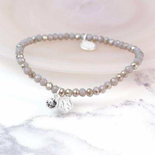 Pale Grey Bead Crystal Charm Bracelet