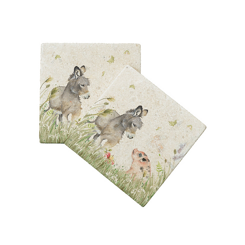COUNTRY COMPANIONS: DONKEY AND PIG COASTERS