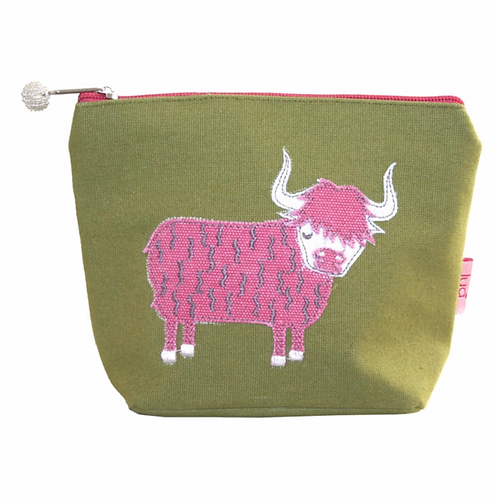 Highland Colourful Cow Small Cosmetic Purse-Olive