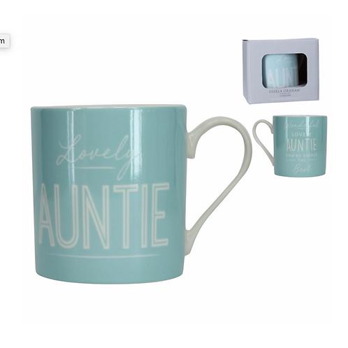Boxed Sentiment Mug - Blue/Auntie