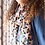 Thumbnail: Geometric circle print scarf in pink and green