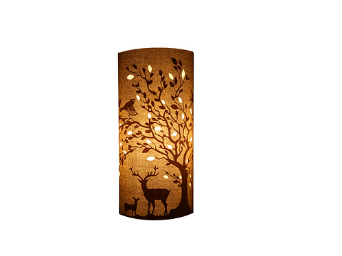 Fabric Lamp – Deer & Bird