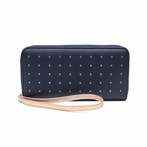 Navy faux leather and rose gold star purse