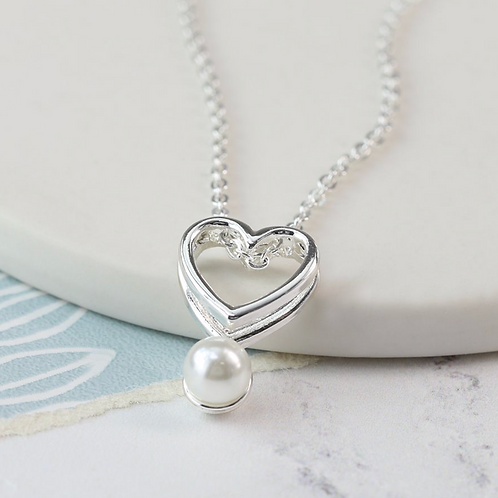 Silver plated double heart and pearl necklace