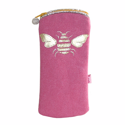 Gold Bee Glasses Purse-Pink