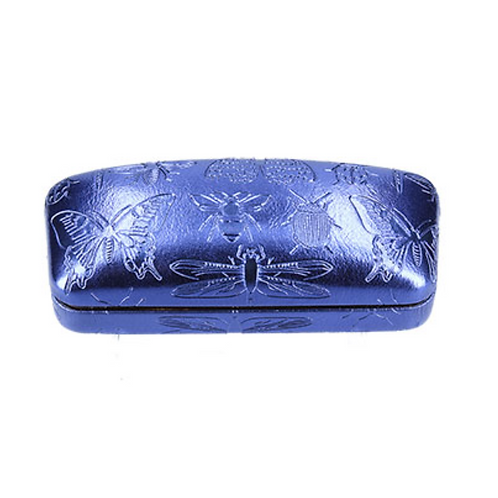 PU Luxe Glasses Case - Blue/Emb. Insects