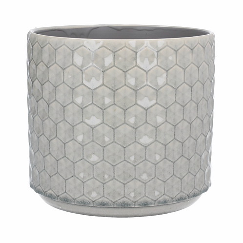 Grey Honeycomb Ceramic Pot Cover-Lrg