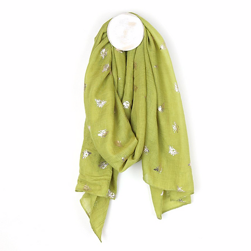 Lime green and silver bee print scarf