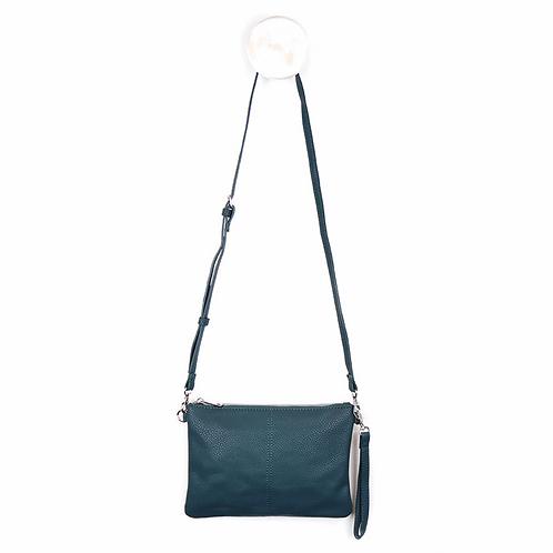 Vegan Leather Teal Convertible Clutch Bag