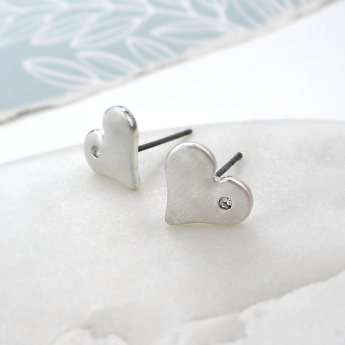 Silver Plated Brushed Heart Crystal Earrings