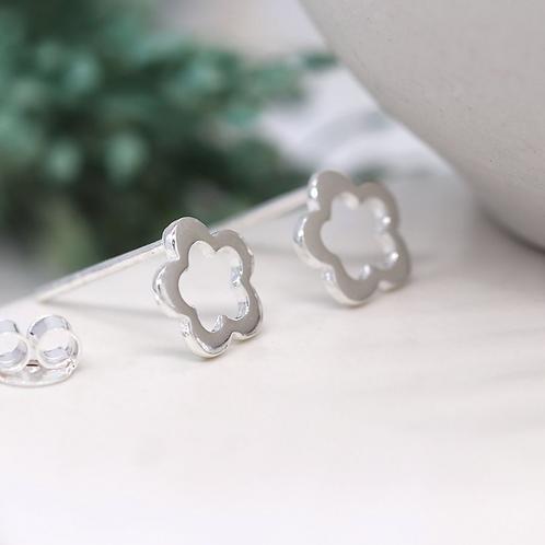 Sterling silver cut out flower stud earrings