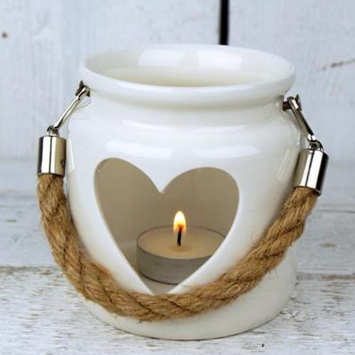 White Porcelain Heart Tealight Holder