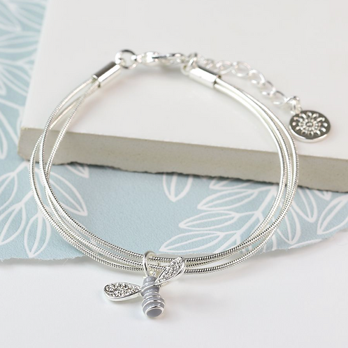 Silver plated bracelet with enamel crystal bee