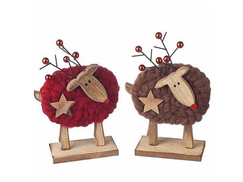 STANDING WOOLY DEER DECORATION