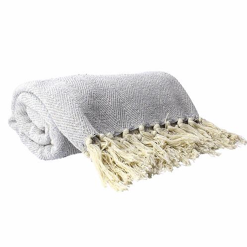 Cotton Throw 150cm - Light Grey Woven Chevron