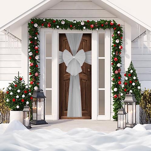 Christmas Silver Door Bow