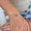 Thumbnail: Silver Heart In Rose Gold Disc Stretch Bracelet