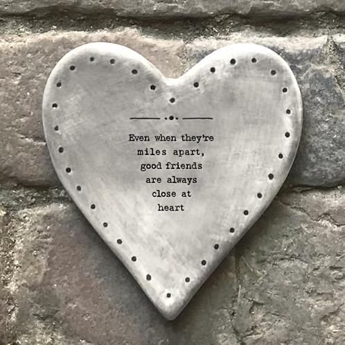 Rustic heart coaster-Even miles apart