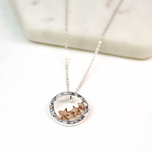 Silver Plated Hoop Rose Gold Stars Necklace