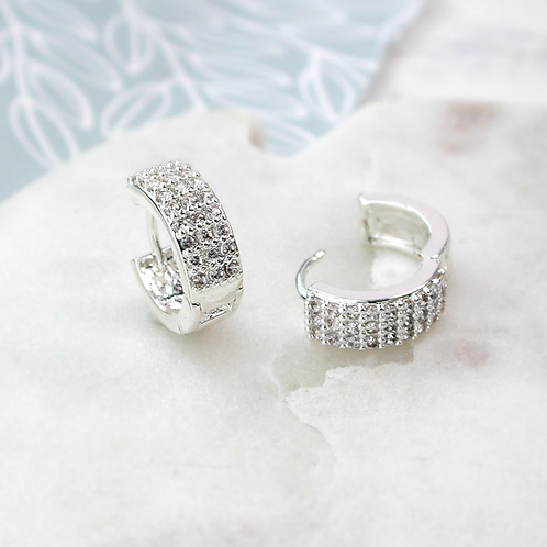 Silver Plated Crystal Huggie Hoop Earrings