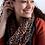 Thumbnail: Terracotta animal print scarf with metallic overlay