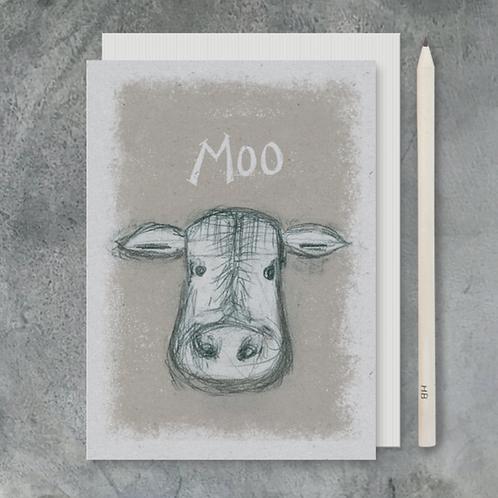 Animal Heads Card-Moo