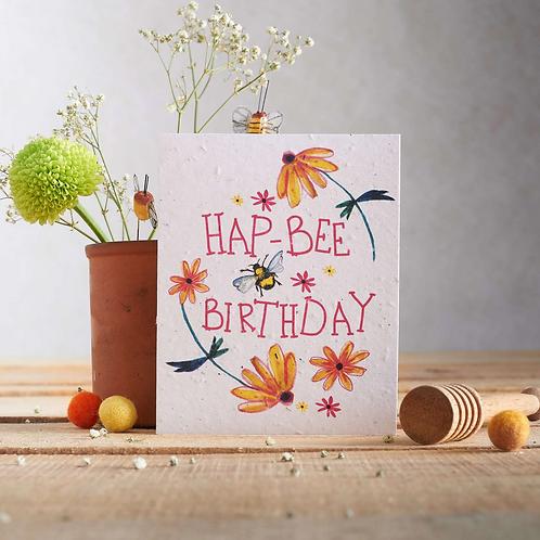 Hap-bee birthday plantable seed card
