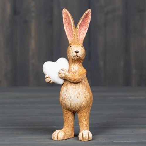Standing Rabbit with heart 14 cm