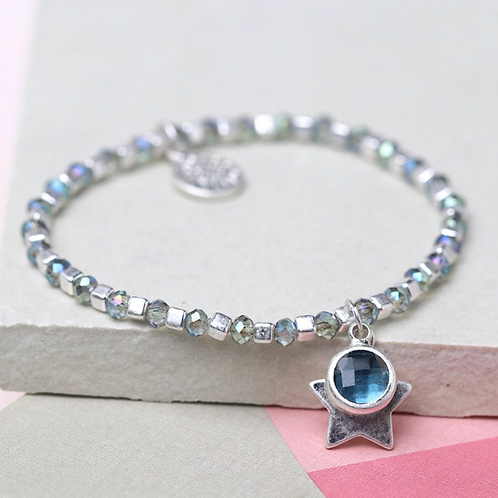Silver cube bead and blue crystal bracelet with star