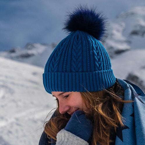 Deep teal cable knit faux fur bobble hat