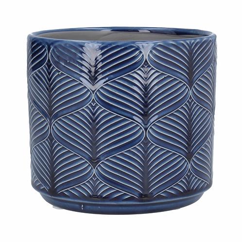 Navy Wavy Ceramic Pot Cover-Sml