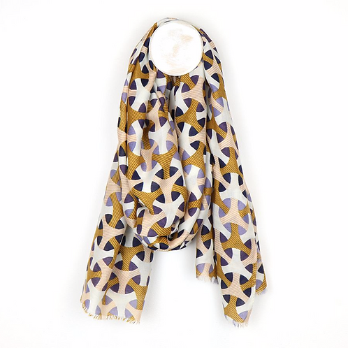 Geometric circle print scarf in mustard and blue