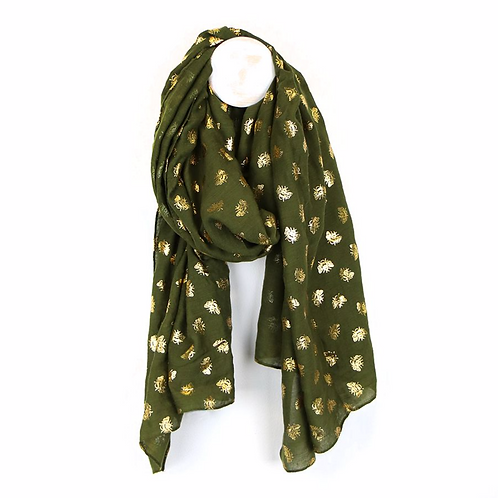 Khaki scarf with metallic busy bee print