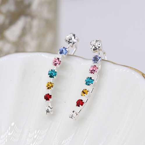 Sterling silver earlines with rainbow claw set crystals