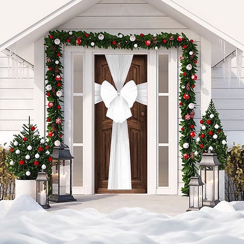Christmas White Door Bow