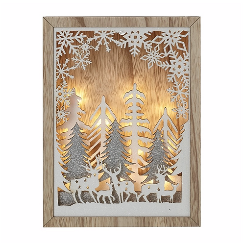 Wooden Deer & Tree Led Christmas Scene