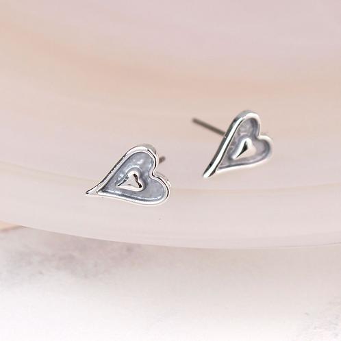 Silver Plated Enamel Heart Stud Earrings