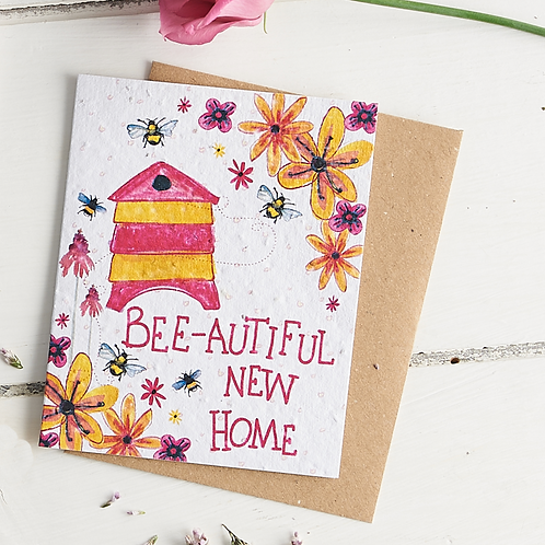 Bee-autiful New home – plantable wildflower seed card