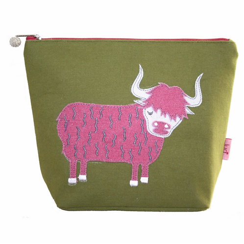 Highland Colourful Cow Large Cosmetic Purse-Olive