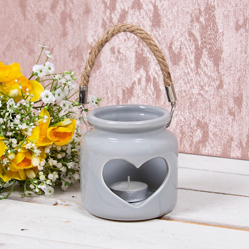 HEART CANDLE HOLDER GREY 10CM