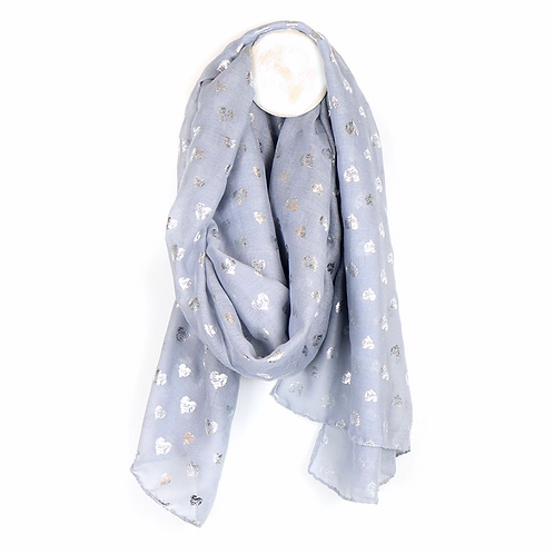 Grey and silver scribble heart scarf