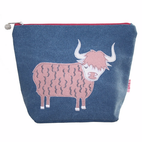 Highland Colourful Cow Large Cosmetic Purse-Petrol