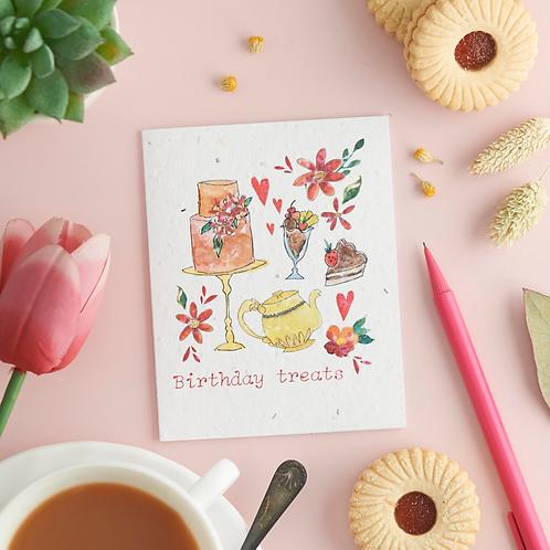 Birthday treats – plantable chamomile seed card